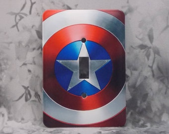 Slightly Imperfect Metal Captain America Light Switch Cover - Captain America Shield - 1T Single Toggle