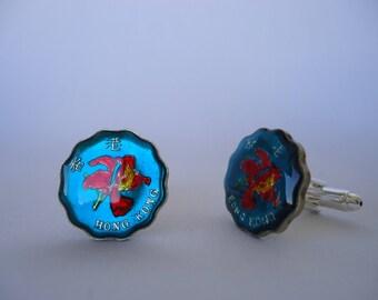 Hong Kong Coin cufflinks, 17,5 mm, men gift