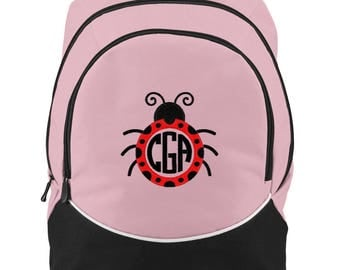 FREE SHIPPING - Ladybug Circle Monogrammed Backpack Book Bag school tote  - NEW