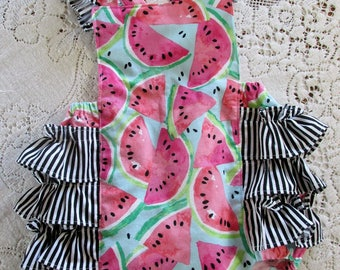 Watermelon Ruffled Bubble Romper - Sleeve and Size Options - Black & White Stripes - Melon Birthday Party - Vintage-Style Sunsuit - Playsuit