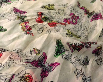 "1950s Silk Butterfly Scarf, Vintage Square Scarf, 17"" x 17"", White, Red, Green, Yellow, Black Silk Scarf, Excellent Vintage Condition!"