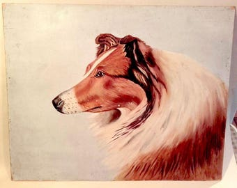 Vintage Pet Portrait Collie Dog Painting Folk Art