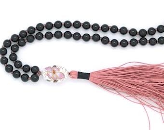 Sakura Cherry Blossom Mala, 108 bead, with obsidian & cherry blossom guru bead