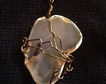 Wire Wrapped Polished Stone Pendant