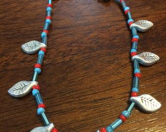 Red and Teal Leaf bracelet