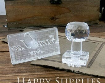 Customized Logo Embosser Handmade Acrylic Glass Soap Stamp Seal Soap Mold /  Personalized Cookie Stamp / Wedding Seal