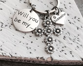 Will you be my Godmother, SILVER KEYRING, Godmother gift, Godmother Keychain, Gift for Godmother, Baptism Gift, Godmother Jewelry, Gifts