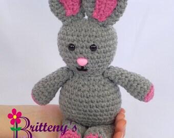 Gray Rabbit / Gray Rabbit Stuffed Animal / Crochet Gray Rabbit / Crochet Plush Gray Rabbit Toy / Gray Rabbit Snuggly Pal
