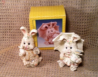 2 Adorable Beige Bunny Rabbit Figurines - In Original Boxes - Holding Easter Eggs, Bird House, Umbrella - Baby Room, Nursery Decor