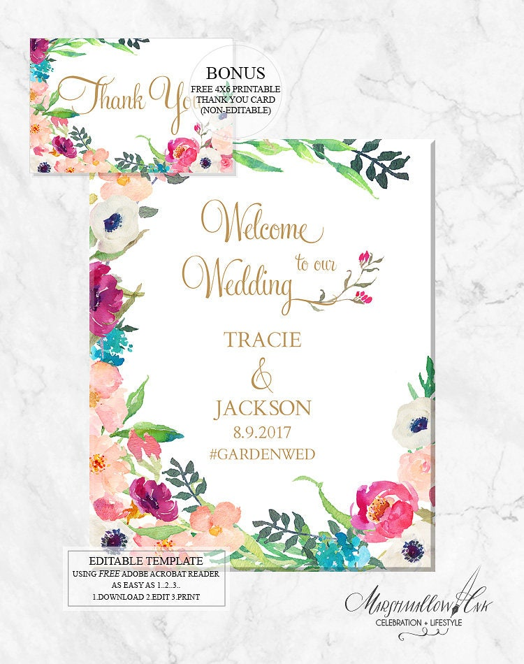 Welcome Wedding Signs, Printable Wedding Signs DIY Wedding Template, Welcome Sign PDF Wedding Printable Wedding Decor Reception Sign Poster