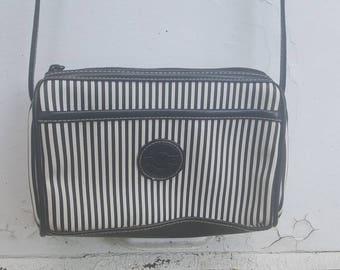 Vintage Black and White Stripe Americana Spirit Purse
