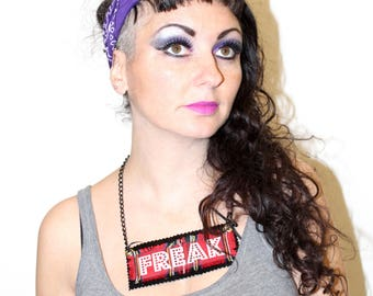 Pretty Disturbia handmade punk grunge FREAK necklace alternative rockabilly tartan pic chunky