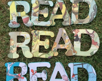 Custom READ 4 inch wooden letters from original book illustrations