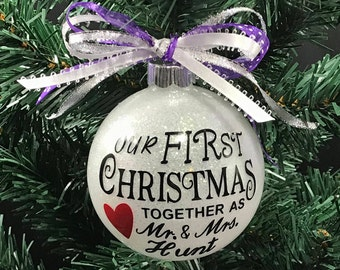 Gift For Newlyweds, Our First Christmas, I Do, Wedding Christmas, Just Married, Engagement Ornament, Mr And Mrs Ornament, Married Ornament