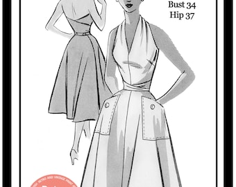 1950s Wrap Halter Dress Sewing Pattern - Rockabilly - Pin Up - PDF Sewing Pattern - Instant Download