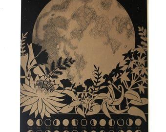 2018 Lunar Calendar Poster, Wall Calendar, Moon Phase, Moon Calendar, Full Moon Art, Lunar Phase, Gold Art Print, Astronomy Gift Gold Print