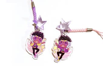 """Gloria 1.5"""" Acrylic Charm with Phone Strap (Double-Sided)"""