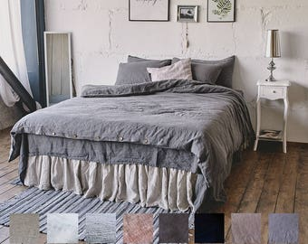 Linen DUVET COVER or SET includes one/two pillow cases. Vintage Style in Full Double Twin King Queen. 100% Pure Linen Stone Washed by Len.Ok