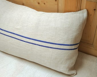 Authentic Grain Sack Body Pillow Sham Blue Stripes / Antique linen / Handwoven hemp fabric / Handmade Pillow Sham