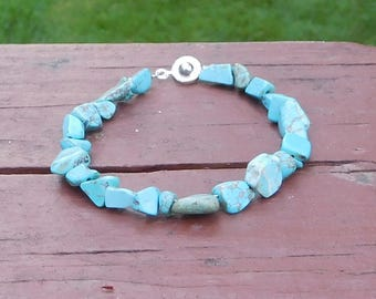 Blue Turquoise Bracelet Aged Looking Beads Irregular Shape Southwest Hippie Cowgirl Rustic Sundance Style Jewelry 7 inch 7 1/2 inch