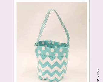 Easter Basket for Easter Egg Hunting or Gifting. Personalized Boys Easter Basket with Turquoise Chevron and Polka-Dot Lining