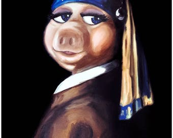 Miss Piggy with Pearl Earring