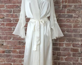 M/L / Wedding Night Peignoir / Chiffon Honeymoon Robe / Satin Negligee / Wedding Lingerie