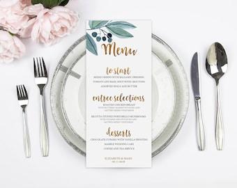 Gold Wedding Menu, Printed Wedding Menu, Real Gold Foil, Custom Wedding Menu, Floral Menu, Reception Menu Card, Blue Wedding, Food Menu
