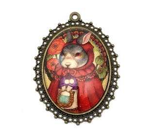 1 red ridding hood glass pendant bronze tone, 50mm x 60mm # Pen115