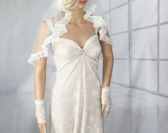 Wedding veil, bridal veil, Juliet cap veil, Ivory veil, small veil, short veil, small wedding veil, waist length veil,