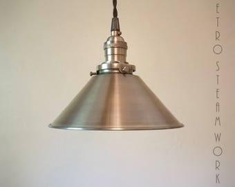 Ceiling Pendant Light  - Hand Aged Brass Finish Hanging Loft Lamp - Hand Made