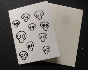 Skull Greetings Card A6 - Skulls with Glitter - Watercolour Cards - Glitter Cards