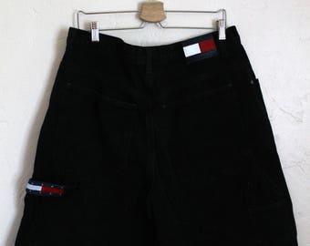 90s Vintage Tommy Hilfiger Black Denim Jean Shorts Tommy Jeans Tommy Flag Black Denim Jeans Size 38