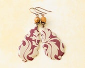 Maroon Red and Gold Scroll Tin Teardrop Earrings with Antique Copper and Copper Faceted Glass Beads, Tear Drop Earrings.