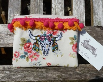 Bohemian Bull Skull Flowers Purse Makeup Bag Cosmetic Clutch Cath Kidston Pom Poms Fabric Pouch Padded Lined Handmade