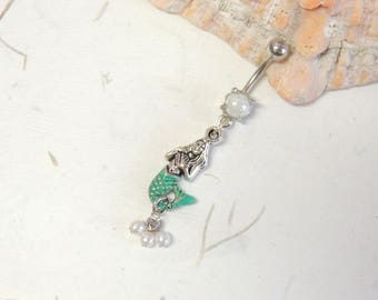 Mermaid Pearl Dangle Belly Ring, Belly Button Jewelry, Mermaid Jewelry, Mermaids
