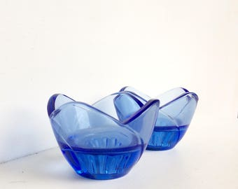 Vintage glass candle holders Italian blue glass 80s home decor