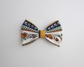 bavarian fabric hair bow : white