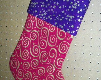 Christmas Stocking, lined with Hanger & Cuff.