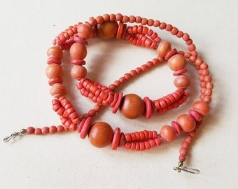 Vintage Wood Bead Necklace in orange and coral, Sweden, 1990s(F1019)