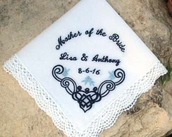 MOTHER of the BRIDE/GROOM Handkerchief, Unique Arched Letters, Engagement/Shower Gift, Cutwork, Personalize, Gift Box, Lace Edge 12x12