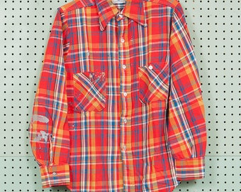 50s/60s Vintage Cone Mills Cotton Flannel Shirt Size M 15 Red