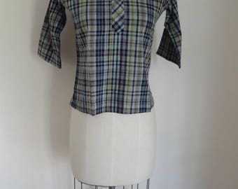 60's Blouse Plaid Madras Ship'n Shore Cotton Camp top Small