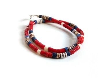 Red Coral Bracelet Skinny Bracelet Boho Chic Stacking Bracelet Dainty Delicate Layering Bracelet Gemstone Bracelet Red Blue Double Wrap