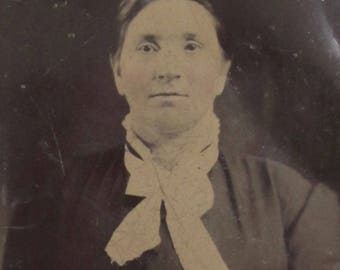 Original 1870's Stoic Middle Aged Woman Tintype Photograph - Free Shipping