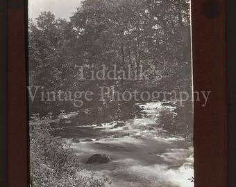 Antique Magic Lantern Glass Slide Victorian Fast Flowing River Scene - Vintage Projector Slide