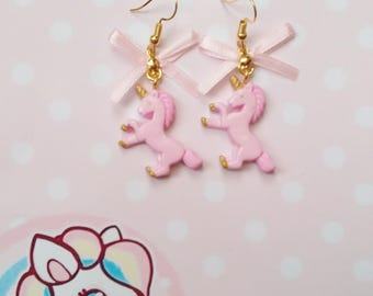 earrings pink unicorns polymer clay
