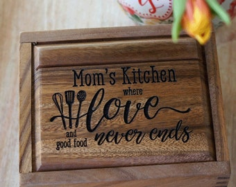 Personalized Mother's day recipe box, Acacia wood - custom heirloom recipe box
