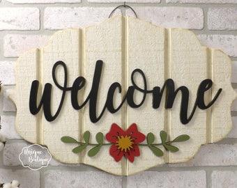 Summer Door Sign Welcome sign Flower Door Hanger Cream White Red painted wood shiplap sign Rustic Fixer upper Farmhouse Decor Door Hanging