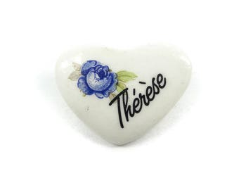 Vintage Therese Heart Brooch, Ceramic, T22